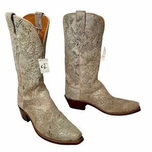 Lucchese NWT Women's Metallic Python Lace Print Cowboy Boots 6.5 rare style!